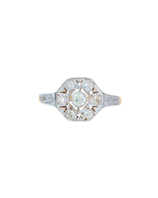 Alexis Danielle Jewelry - Metallic Art Deco Platinum 18kt Yellow Gold Diamond Ring - Lyst