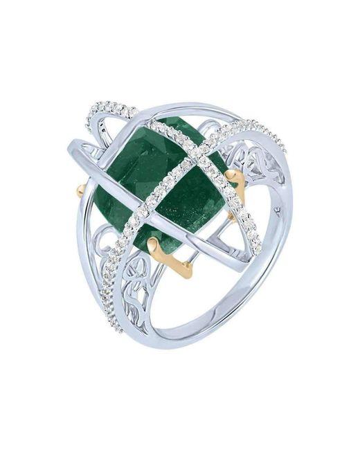 Arya Esha | Cushion Cut Green Aventurine And Diamond Ring | Lyst