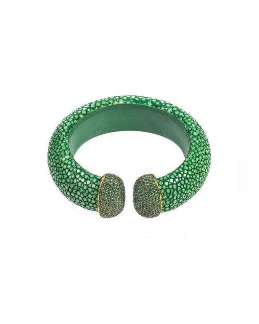 Latelita London - Stingray Cuff Gold Jade Green - Lyst