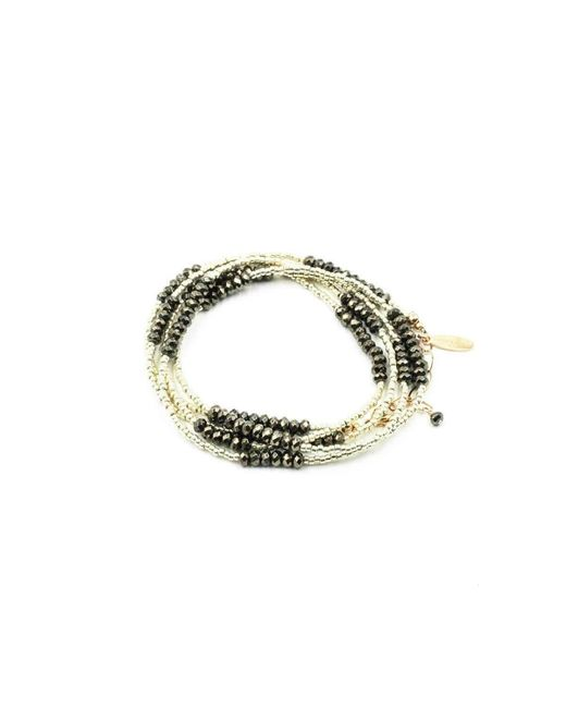 Laura J Finery | Multicolor Skinny Wrap Bracelet/necklace With Pyrite Rondelles | Lyst