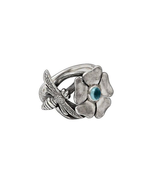 Luke Goldsmith - Metallic Silver Bohemian Blue Topaz Bee Ring - Lyst