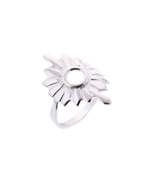 Taylor Black - Metallic Silver Large Sunburst Ring - Lyst