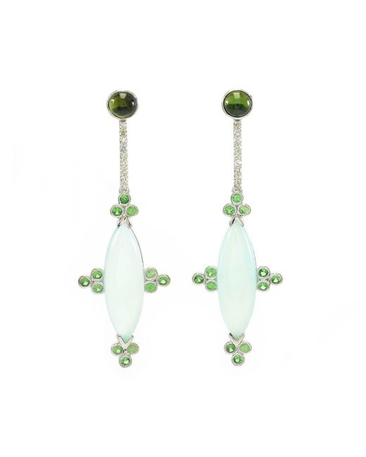 Ri Noor - Multicolor Blue Chalcedony With Tsavorite And Diamond Earrings - Lyst