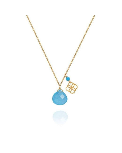 Perle de Lune - Multicolor Blue Jade Drop And Daisy Pendant 18kt Gold - Lyst