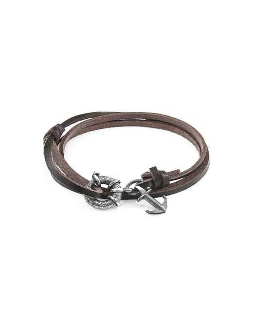 Anchor & Crew - Multicolor Dark Brown Clyde Silver And Leather Bracelet - Lyst
