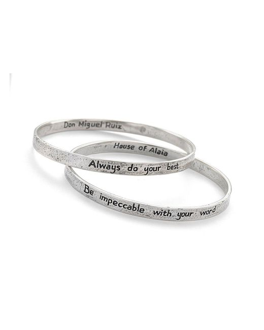 House of Alaia - Metallic Four Agreements Reminder Bangle Set In Silver Large - Lyst
