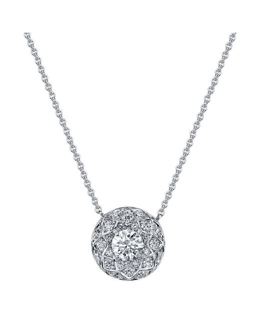 Harry Kotlar - Metallic Round Diamond Solitaire Bloom Artisan Pave Necklace - Lyst