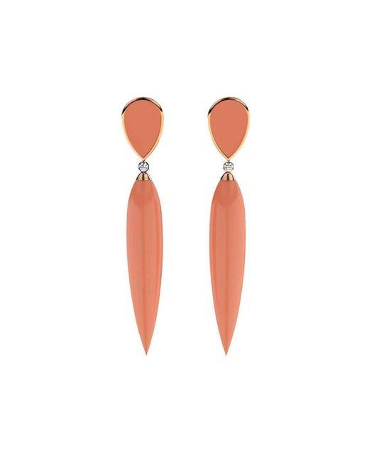 MARCELLO RICCIO - Multicolor Rose Gold Plated Silver, Diamond & Coral Earrings - Lyst