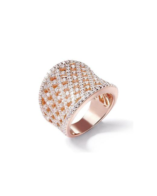 Lustre of London - Pink Rose Lattice Curve Ring - Lyst