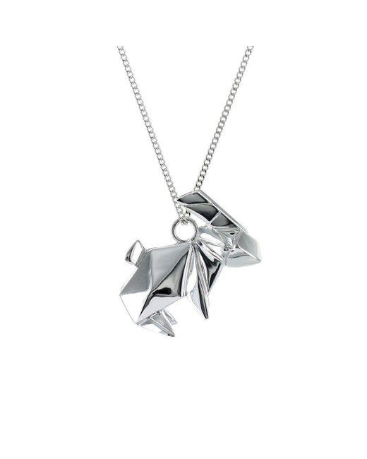 Origami Jewellery - Metallic Rabbit Silver Necklace - Lyst