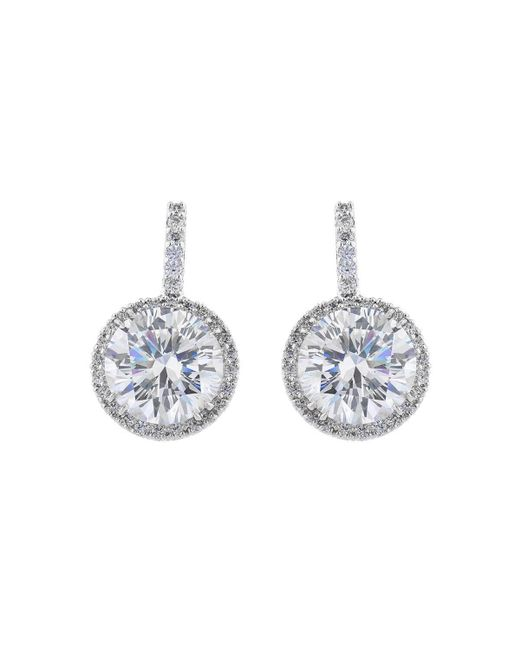 Fantasia by Deserio - Metallic Palladium Plated Large Round Pave Drop Earrings - Lyst