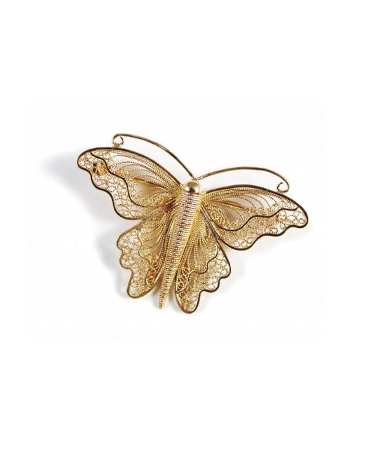 Agora Jewellery - Multicolor Filigree Monarch Butterfly Brooch In 24kt Rose Gold Plated - Lyst