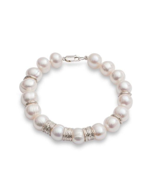 The Pearl Quarter - Metallic Chunky Pearl Bracelet With Silver Beads - Lyst