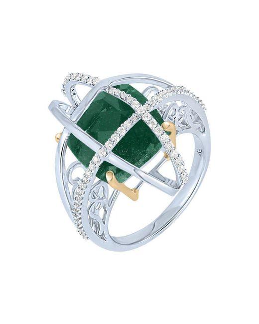 Arya Esha - Green Gold Aventurine & Diamond Cage Ring   - Lyst