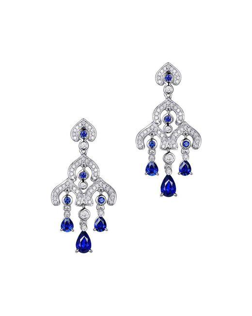 SILVER YULAN - Blue Sapphire Chandelier Earrings - Lyst