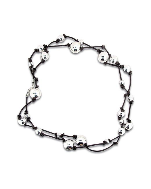 Will Bishop - Metallic Sterling Silver Beads On Leather Necklace - Lyst