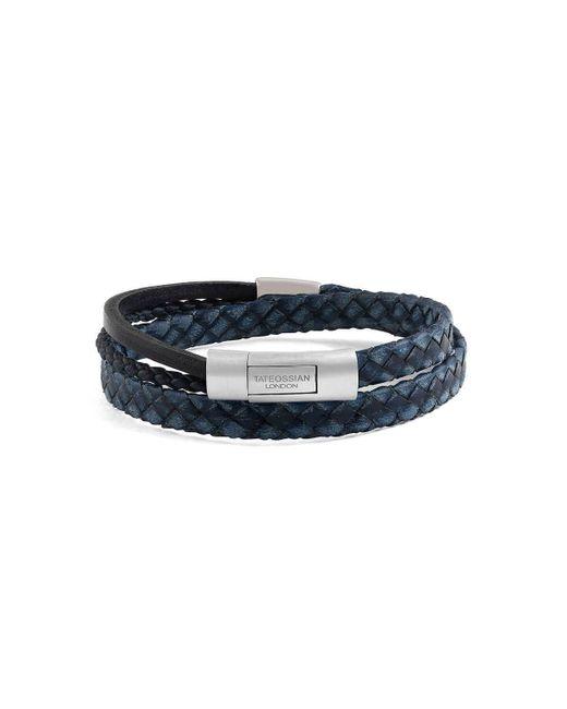 Tateossian - Blue Silver & Navy Leather Cobra Doppio Bracelet - Lyst