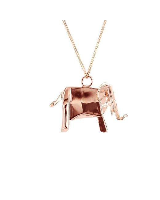 Origami Jewellery - Multicolor Elephant Pink Gold Necklace - Lyst
