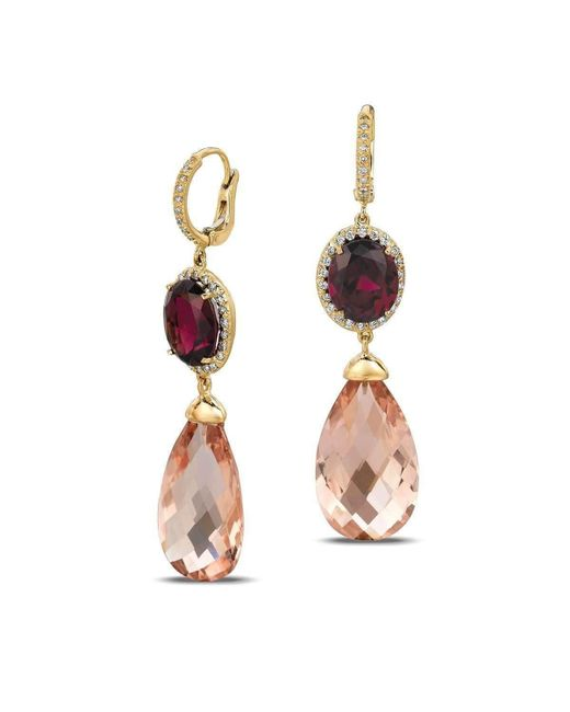 Gemlok for Gemveto - Multicolor Winsome Yellow Gold Rhodolite Drop Earrings - Lyst
