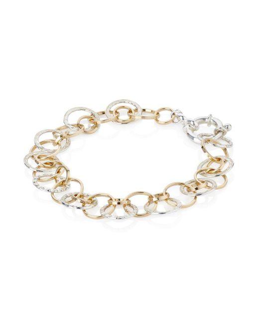 Lavan - Metallic Handmade Silver And Gold Tri Colour Links Bracelet - Lyst