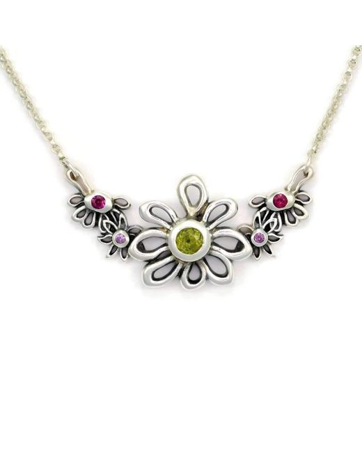 Donna Pizarro Designs Sterling Silver Pink Sapphire Daisy Necklace - 14.5 Inches qEKhDhKA