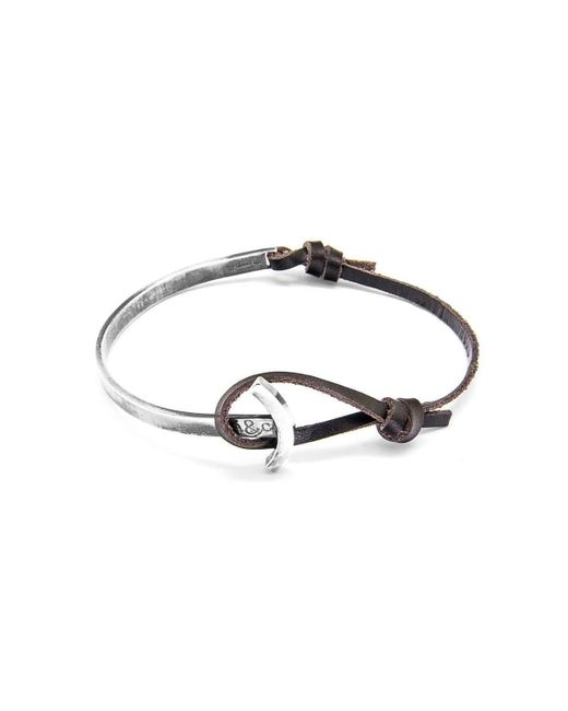 Anchor & Crew - Multicolor Dark Brown Galleon Silver And Leather Half Bangle - Lyst