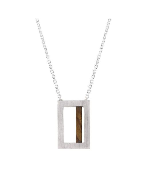 Ilda Design - Metallic Silver Necklace With A Piece Of Ash And Cable Chain - Lyst