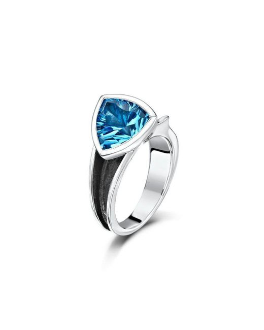 Becky Rowe - Oxidised Silver Blue Topaz Ring - Lyst