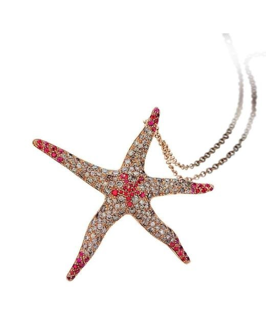 Pinomanna - Brown Rose Gold & Sapphire Natural Chic Starfish Necklace | - Lyst