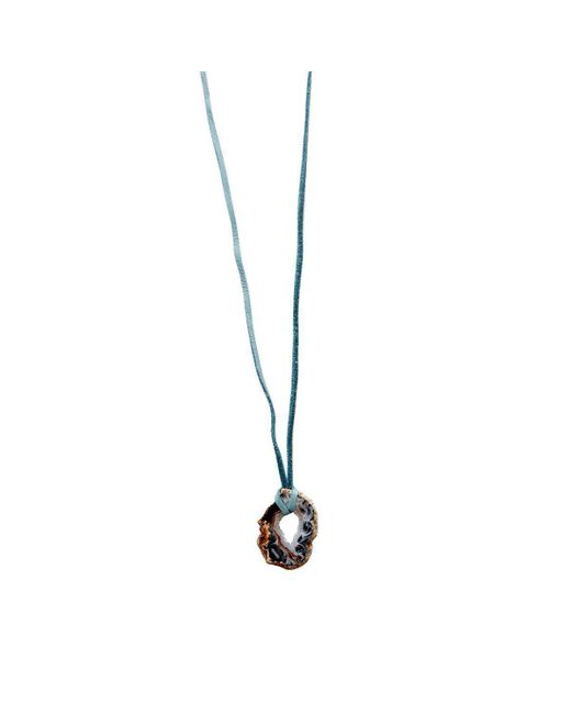 Lucy and Penny - Multicolor Druzy Quartz Leather Choker - Blue - Lyst
