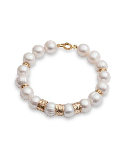 The Pearl Quarter - Metallic Chunky Pearl Bracelet With Gold Vermeil Beads - Lyst
