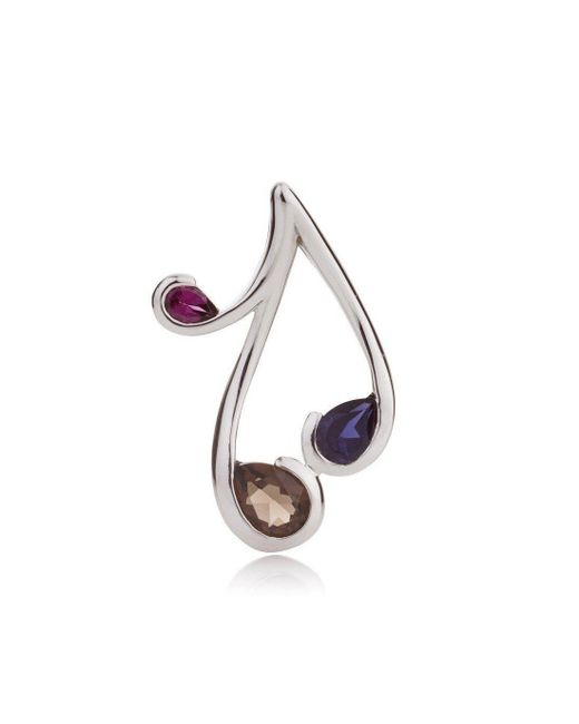MANJA Jewellery - Multicolor Tana - Iolite, Rhodolite And Smoky Quartz Pendant - Lyst