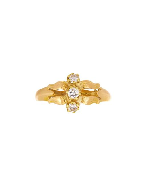 Alexis Danielle Jewelry - Metallic Art Nouveau 18kt Yellow Gold Three Diamond Flower Ring - Lyst