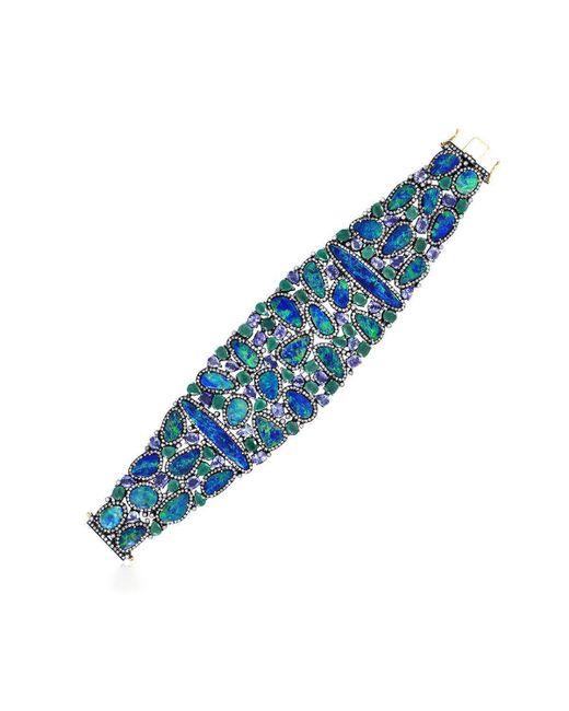 Socheec - Blue Designer Opal Diamond Bracelet - Lyst