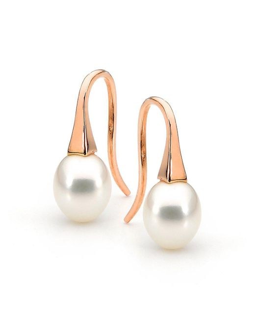 Argenton Design - Multicolor Rose Gold Small White Pearl Short Drop Earrings - Lyst