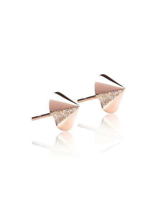 Xavier Civera - Pink Rose Gold Cone Diamond Earrings - Lyst