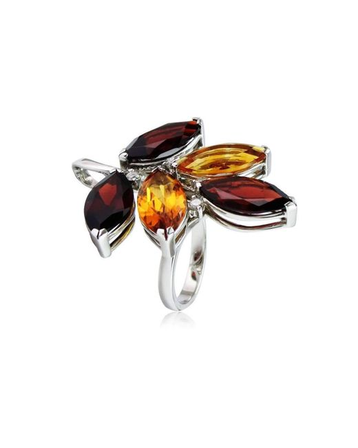 Cherie Thum | Multicolor Tree Of Life Garnet And Madeira Citrine Ring | Lyst