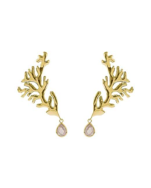 Isa Bagnoli - Multicolor Golden Coral Earrings - Lyst