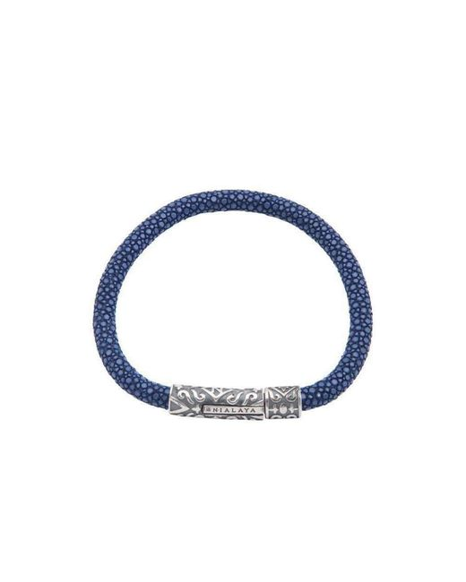Nialaya   Dark Blue Stingray Bracelet With Silver Lock for Men   Lyst