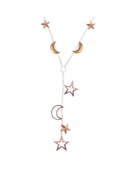 London Road Jewellery - Metallic Portobello Rose Gold Star And Moon Starry Night Necklace - Lyst