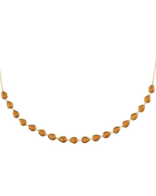 Latelita London Florence Round Gemstone Necklace Rose Gold Smoky Quartz 057td