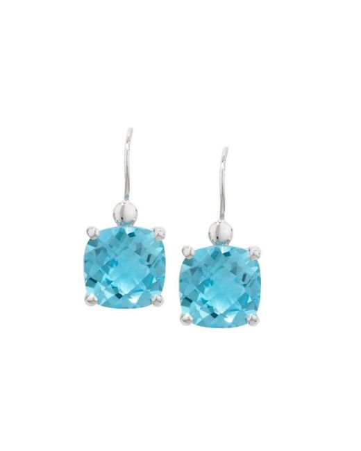 London Road Jewellery - Bloomsbury White Gold Blue Topaz Drop Earrings - Lyst