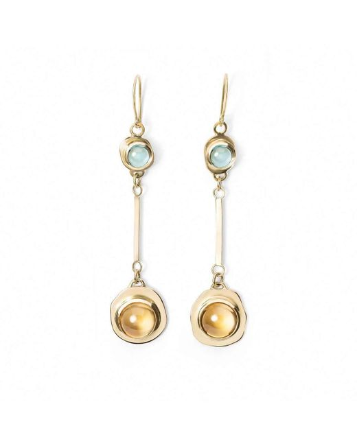 Susan Driver - Multicolor One And Only Citrine And Swiss Topaz Drop Earrings - Lyst