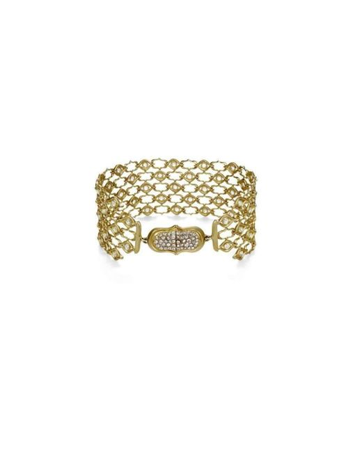 Anahita Jewelry - Metallic 18kt Yellow Gold And Diamond Weave Pattern Bracelet - Lyst