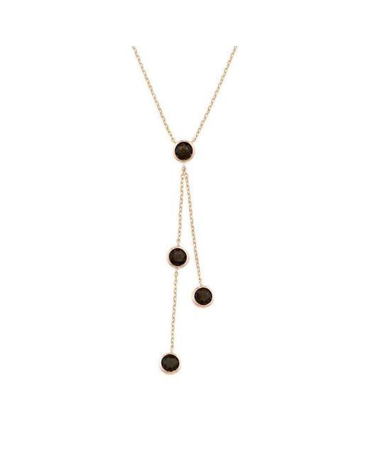 London Road Jewellery - Metallic Pimlico Rose Gold Smoky Quartz Raindrop Necklace - Lyst