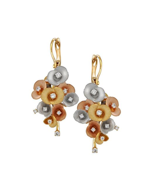 Chekotin Jewellery - Multicolor Gold & Diamond Bouquet Of Flowers Eden Drop Earrings | - Lyst