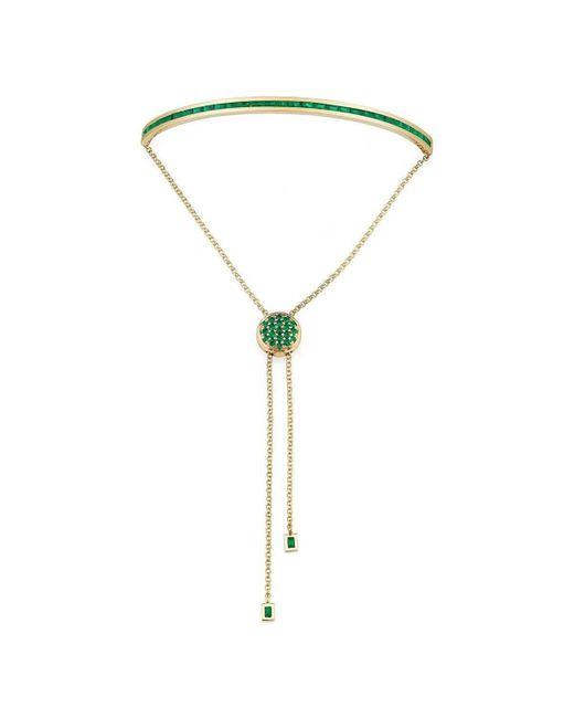 Borgioni - Metallic Baguette Toggle Bracelet Yellow Gold And Emeralds - Lyst