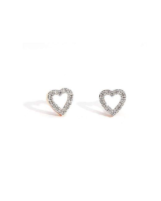 Kaizarin - Metallic Rose Gold & Diamond Tiny Heart Stud Earrings   - Lyst