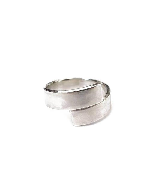 Lexi Cannon Jewellery Metallic Sterling Silver Simple Silver Cross Over Wrap Ring