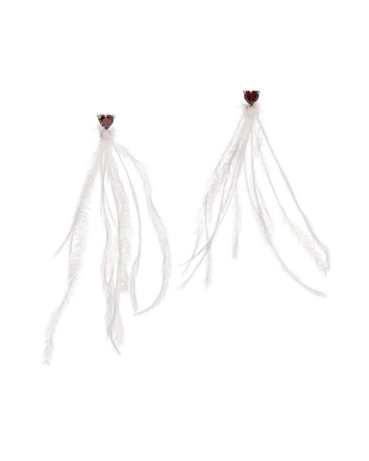 Augustine Jewels | Red Earrings Of Ostrich Feather And Garnet Hearts | Lyst